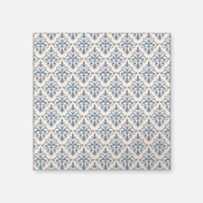"Monaco Blue & Linen Damask Square Sticker 3"" x 3"""