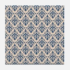 Monaco Blue & Linen Damask 41 Tile Coaster