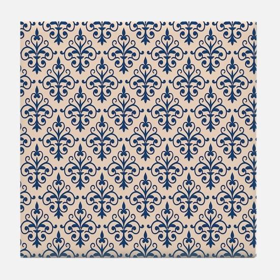 Monaco Blue & Linen Damask 41 Tile Coaster