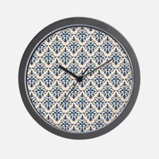 Monaco Blue & Linen Damask 41 Wall Clock