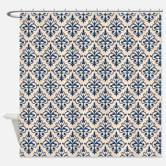 Monaco Blue & Linen Damask 41 Shower Curtain