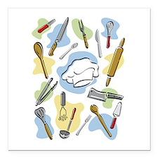 "Chef's Tools Square Car Magnet 3"" x 3"""