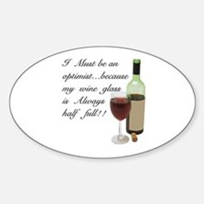 Wine Glass Half Full Optimist Decal