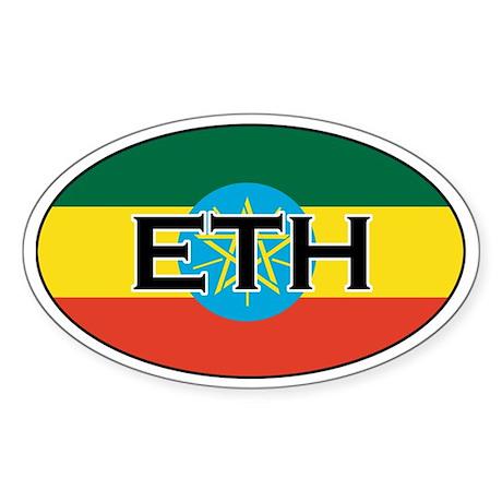 Ethiopia Flag Oval Sticker