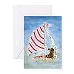 Sailing Chocolate Lab Christmas Greeting Cards