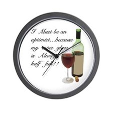 Wine Glass Half Full Optimist Wall Clock