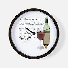 Wine Glass Half Full Optimist Wall Clock