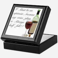Wine Glass Half Full Optimist Keepsake Box