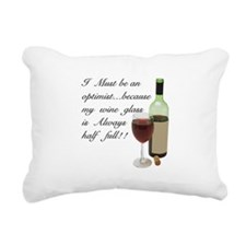 Wine Glass Half Full Opt Rectangular Canvas Pillow