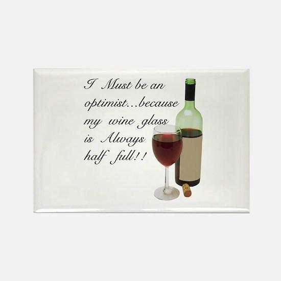 Wine Glass Half Full Optimist Rectangle Magnet
