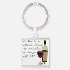 Wine Glass Half Full Optimist Square Keychain
