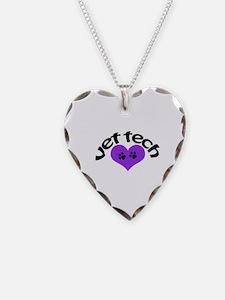 purple paw heart vet tech des Necklace