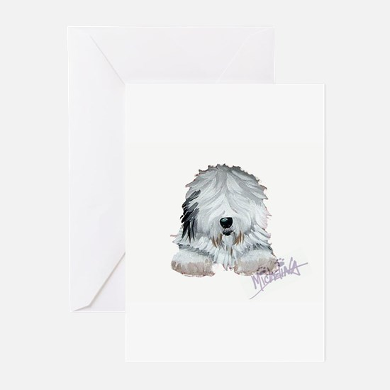 Cute Old english sheepdogs Greeting Cards (Pk of 20)