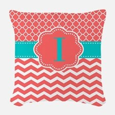 Coral Teal Chevron Monogram Woven Throw Pillow