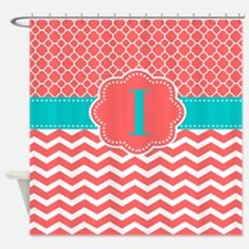 Teal And Coral Shower Curtains | Teal And Coral Fabric Shower ...