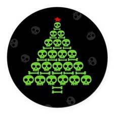 Skull Xmas Tree Round Car Magnet
