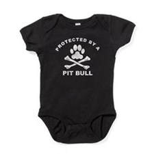 Protected By A Pit Bull Baby Bodysuit