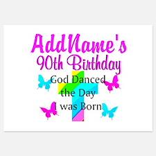 GOD LOVING 90TH Invitations