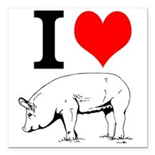 "I Love Pork Square Car Magnet 3"" x 3"""