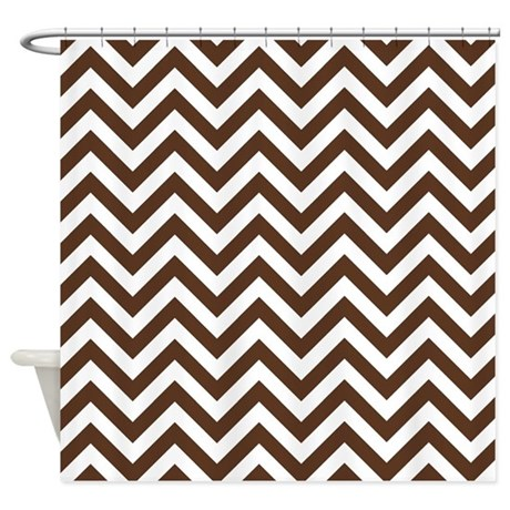Brown White Chevron Shower Curtain By