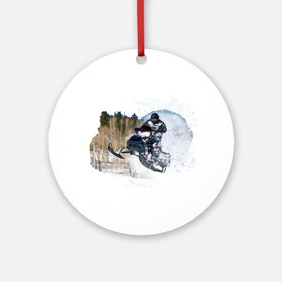 Airborne Snowmobile Ornament (Round)