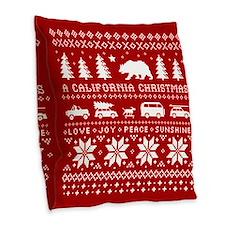 California Christmas Burlap Throw Pillow