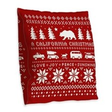California Christmas Burlap Throw Pillow