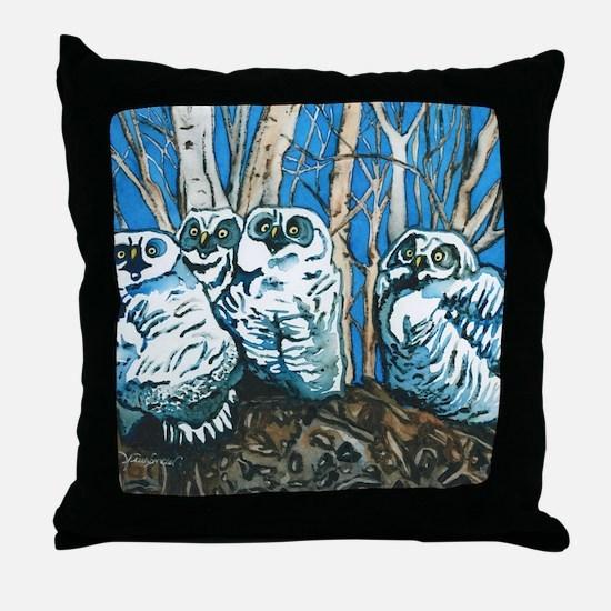 Four Owls Throw Pillow