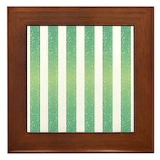 Green Glittery Stripes Framed Tile