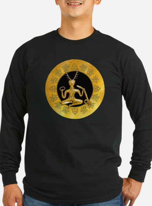 Gold Cernunnos With Snake in C Long Sleeve T-Shirt