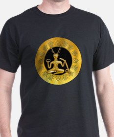 Gold Cernunnos With Snake in Circle - 13 T-Shirt