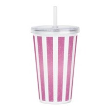 Pink Glittery Stripes Acrylic Double-wall Tumbler