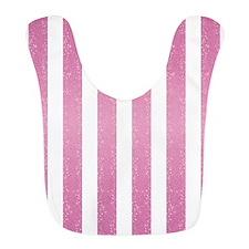 Pink Glittery Stripes Bib