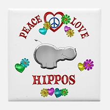 Peace Love Hippos Tile Coaster