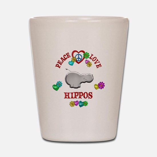 Peace Love Hippos Shot Glass