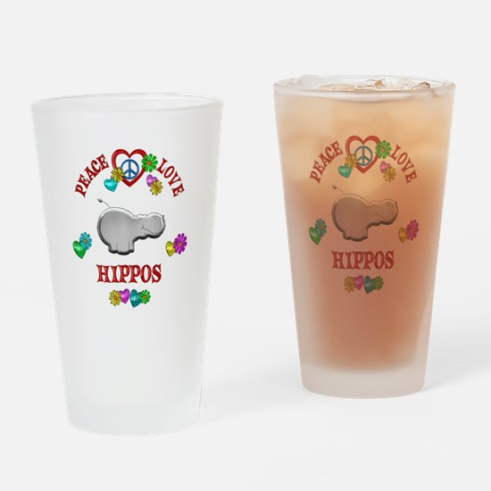 Peace Love Hippos Drinking Glass