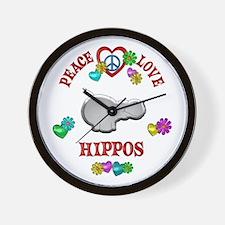 Peace Love Hippos Wall Clock