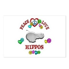 Peace Love Hippos Postcards (Package of 8)