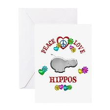 Peace Love Hippos Greeting Card