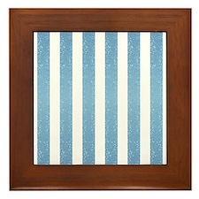 Blue Glittery Stripes Framed Tile