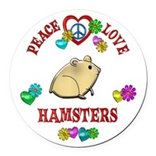 Peace Love Hamsters Round Car Magnet