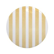 Gold Glittery Stripes Ornament (Round)