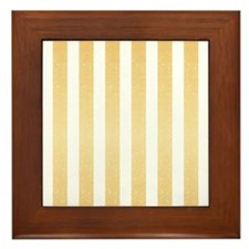 Gold Glittery Stripes Framed Tile