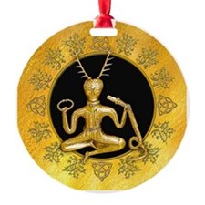 Gold Cernunnos With Snake in Circle Ornament