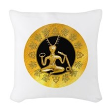 Gold Cernunnos With Snake in C Woven Throw Pillow
