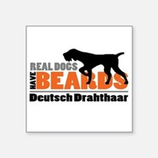 "Real Dogs Have Beards - DD Square Sticker 3"" x 3"""