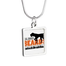 Real Dogs Have Beards - DD Silver Square Necklace