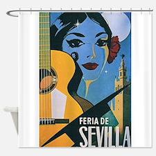 Sevilla Senorita Vintage Art Shower Curtain