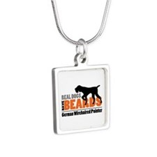 Real Dogs Have Beards - Gw Silver Square Necklaces