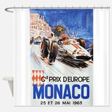 Monaco, Grand Prix, Vintage Poster Shower Curtain